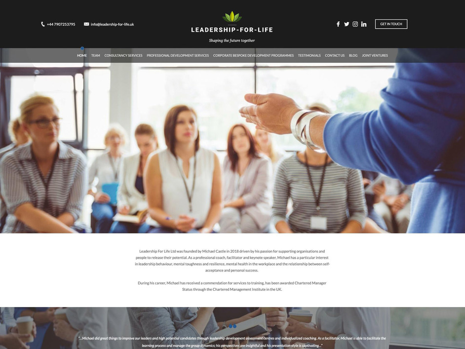 The Leadership For Life website created by it'seeze Exeter